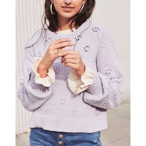 Madewell Floral Pointelle Pullover Sweater M